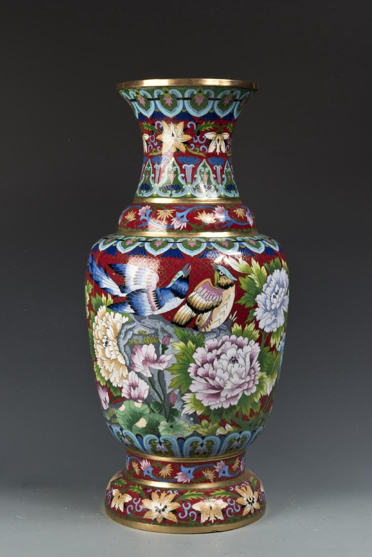 RED-BASED COPPER CLOISONNÉ VASE