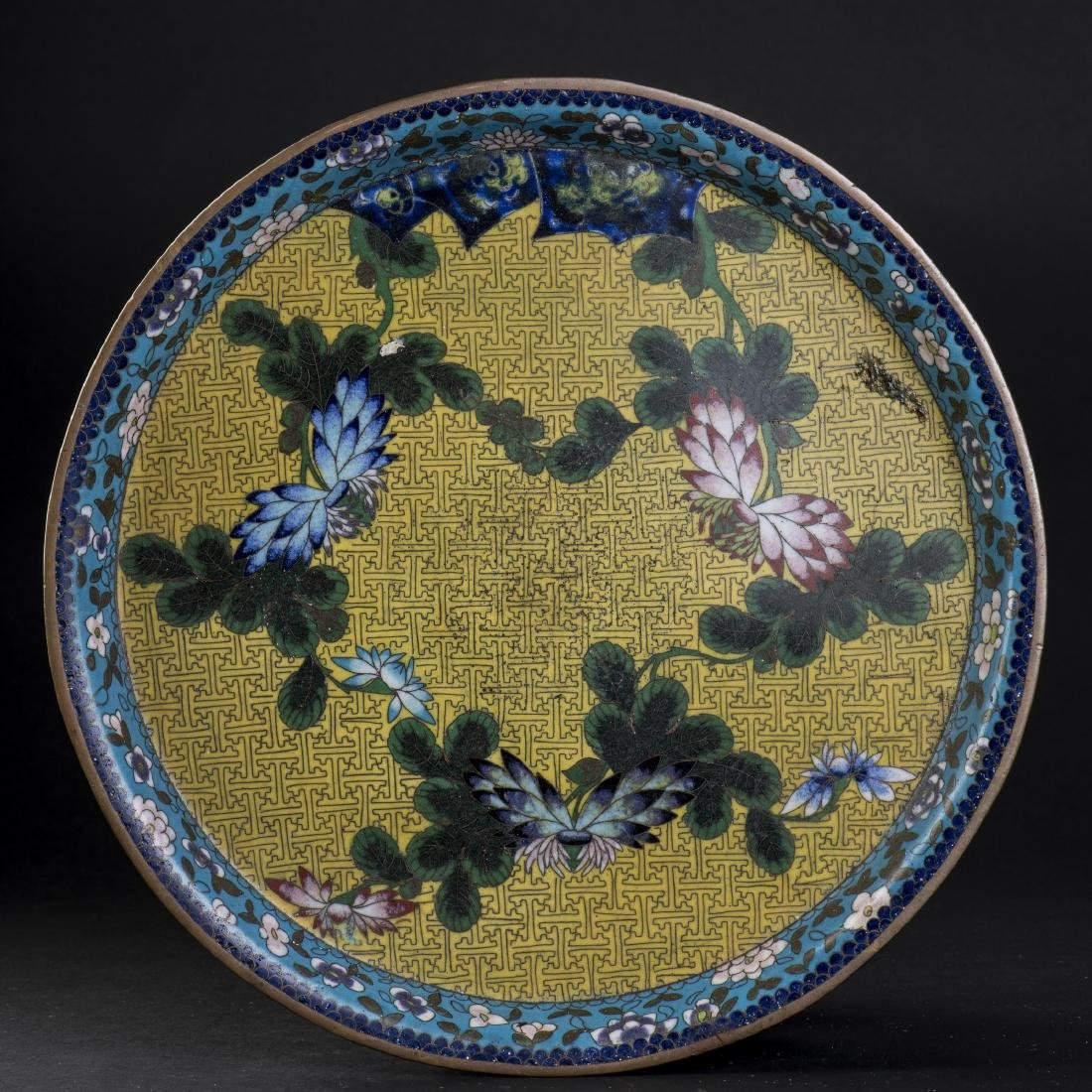 A CHINESE CLOISONNE ENAMELED DISH