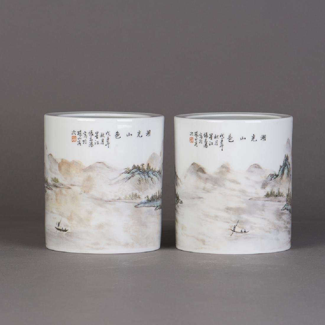 A PAIR OF CHINESE FAMILLE ROSE PORCELAIN VASES - 2