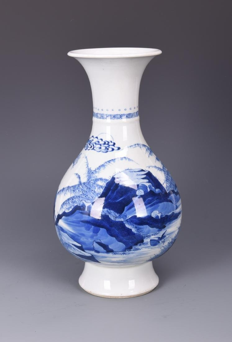 A BLUE AND WHITE 'FIGURAL AND LANDSCAPE' PORCELAIN VASE