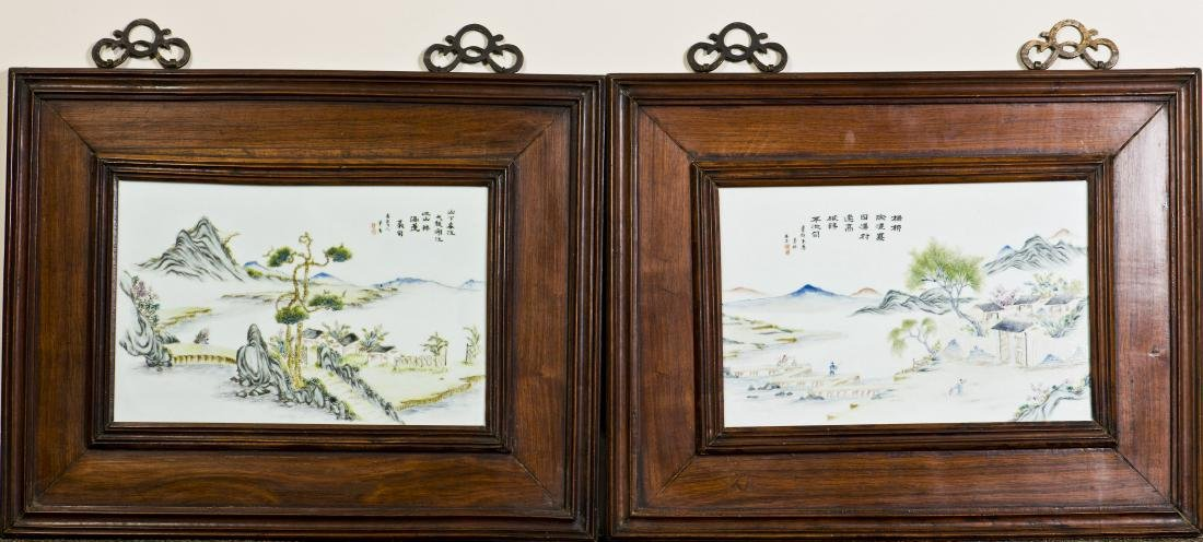 A PAIR OF PORCELAIN PLAQUE WITH OLD HONGMU FRAME, QING