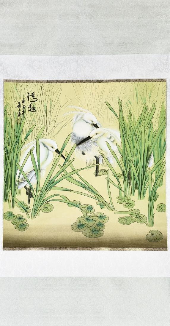 A CHINESE SCROLL PAINTING OF EGRETS