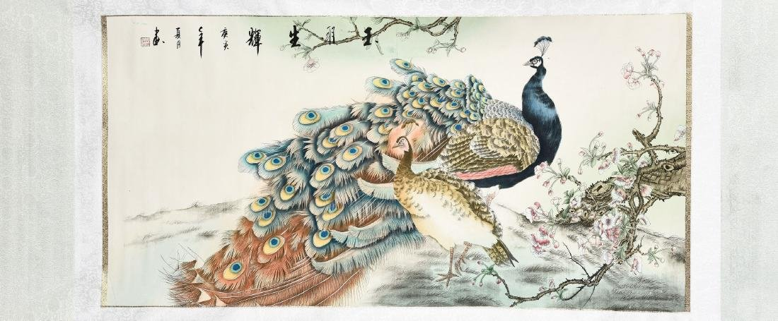 A CHINESE SCROLL PAINTING OF PEACOCK