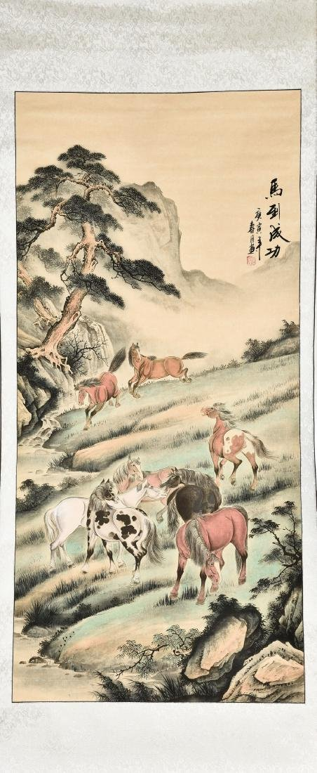 A CHINESE SCROLL PAINTING OF HORSES