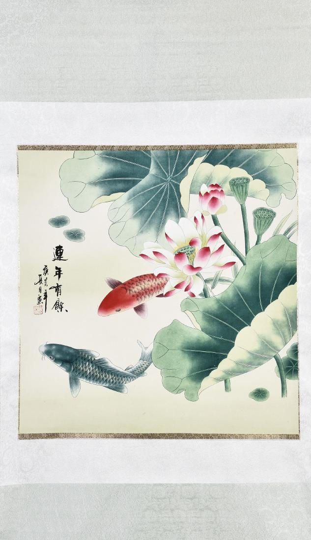 A CHINESE SCROLL PAINTING OF FISH