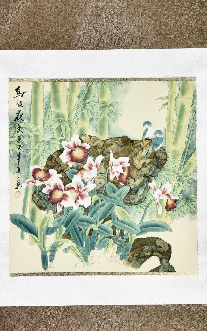 A CHINESE SCROLL PAINTING OF FLOWERS