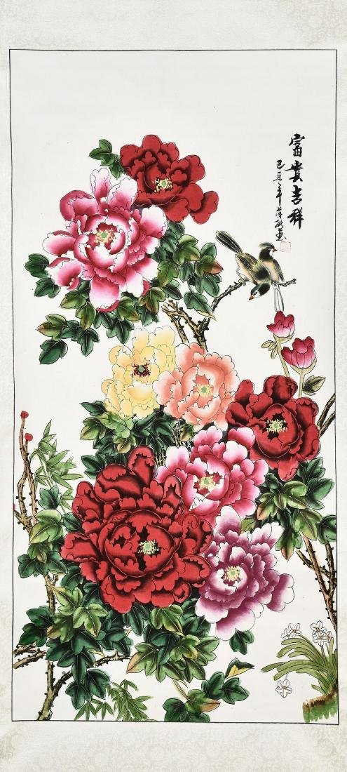 A CHINESE SCROLL PAINTING OF PEONY