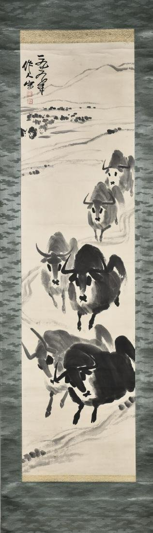 A CHINESE SCROLL PAINTING OF BULL
