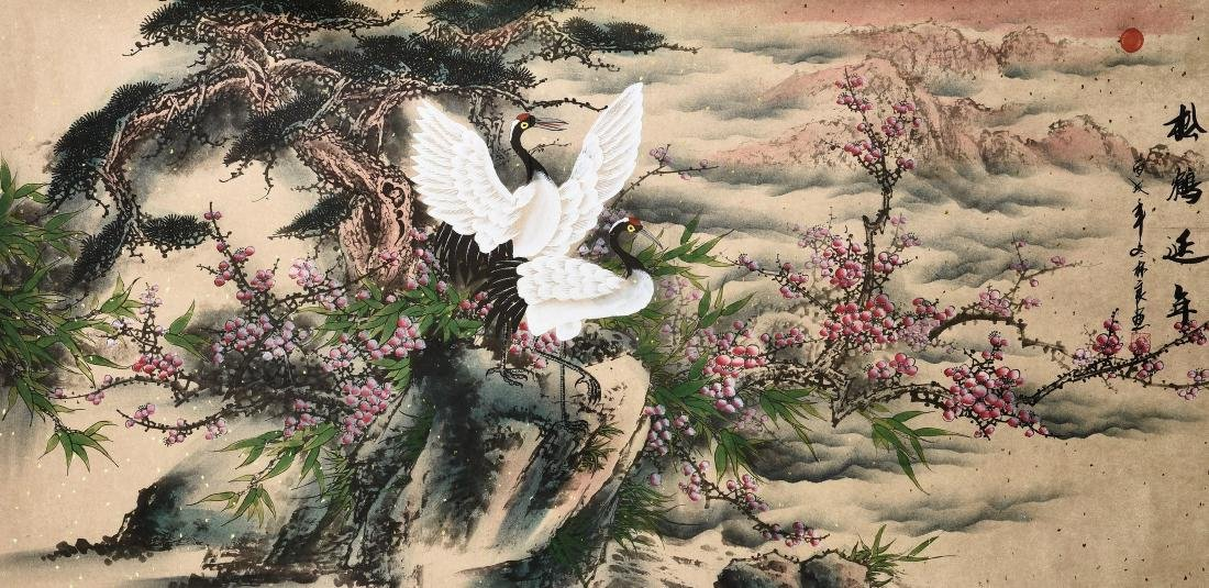A CHINESE SCROLL PAINTING OF CRANES