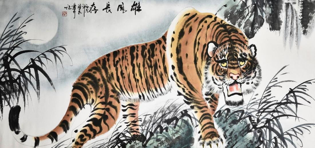 A CHINESE SCROLL PAINTING OF TIGER