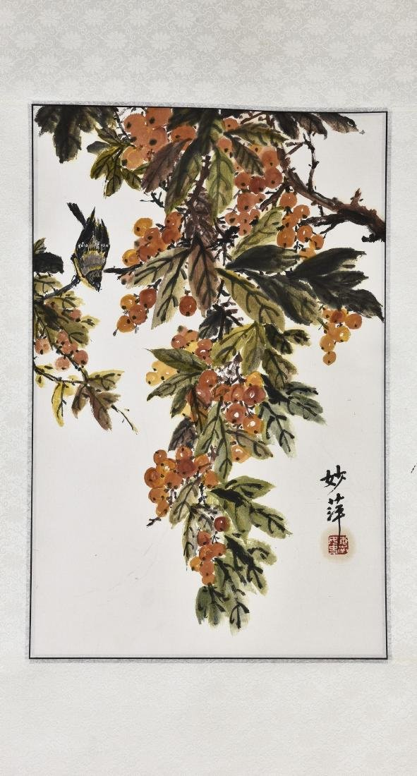 A CHINESE SCROLL PAINTING OF GRAPE AND BRID