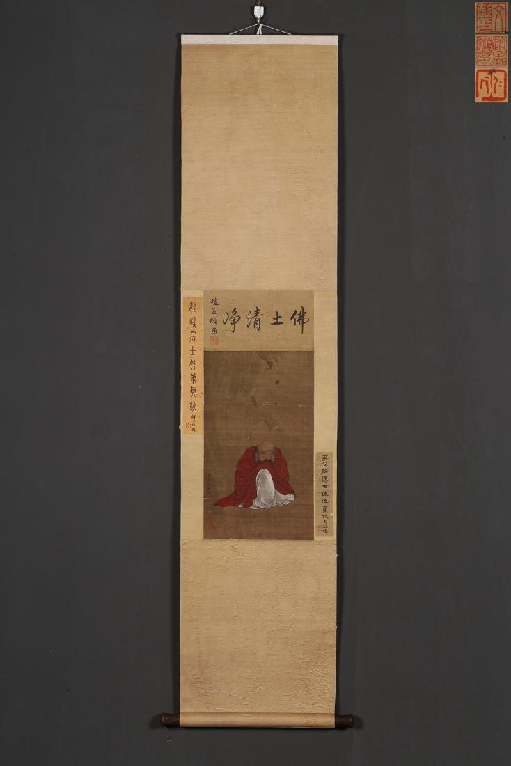 A CHINESE SCROLL PAINTING OF LUOHAN