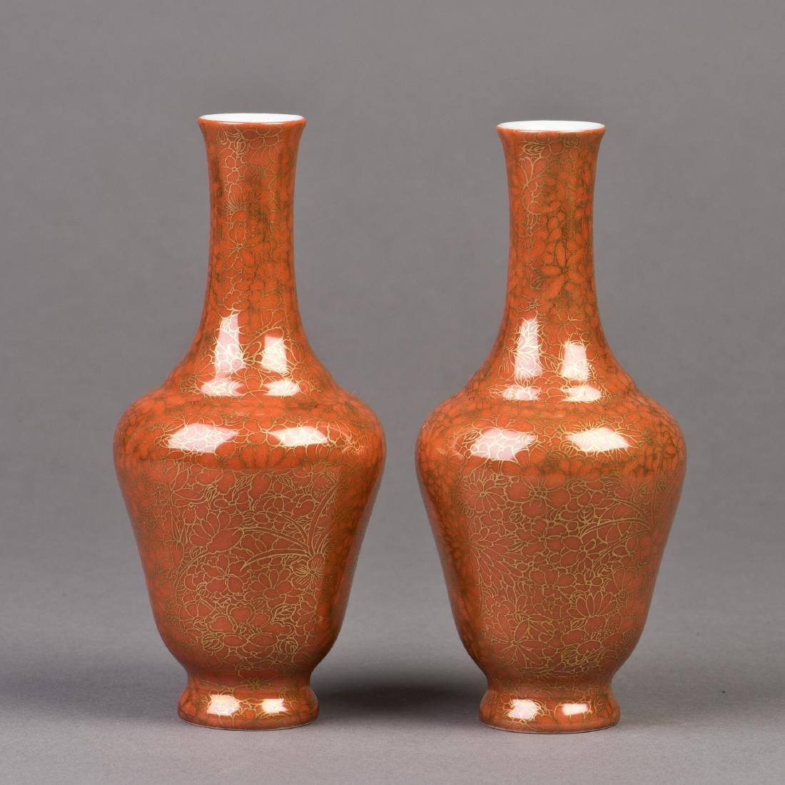 A PAIR OF TENNE-GLAZED PORCELAIN VASES