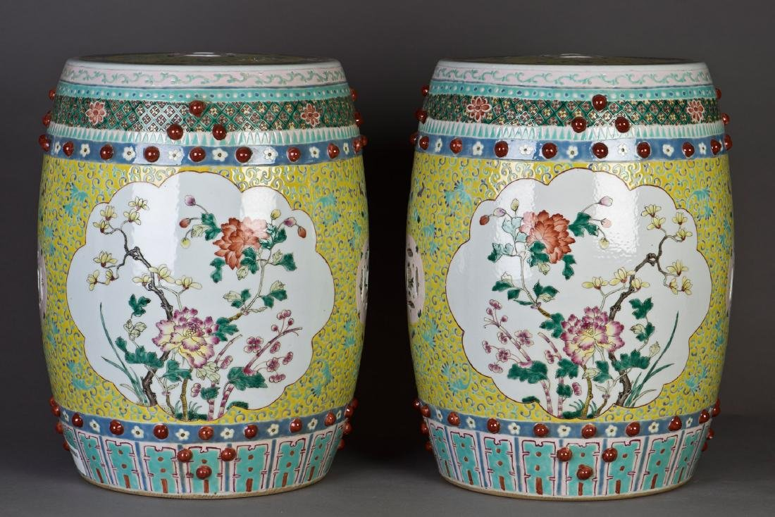 A PAIR OF FAMILLE ROSE PORCELAIN DRUM STOOLS
