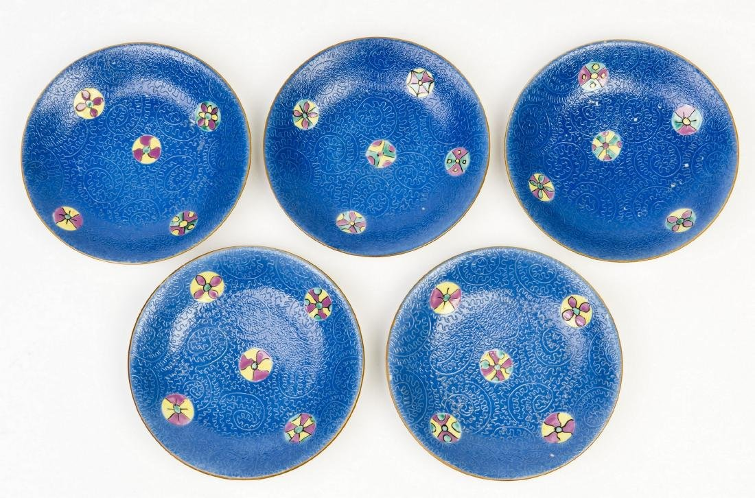 A SET OF FIVE BLUE GROUND FAMILLE-ROSE PORCELAIN PLATES