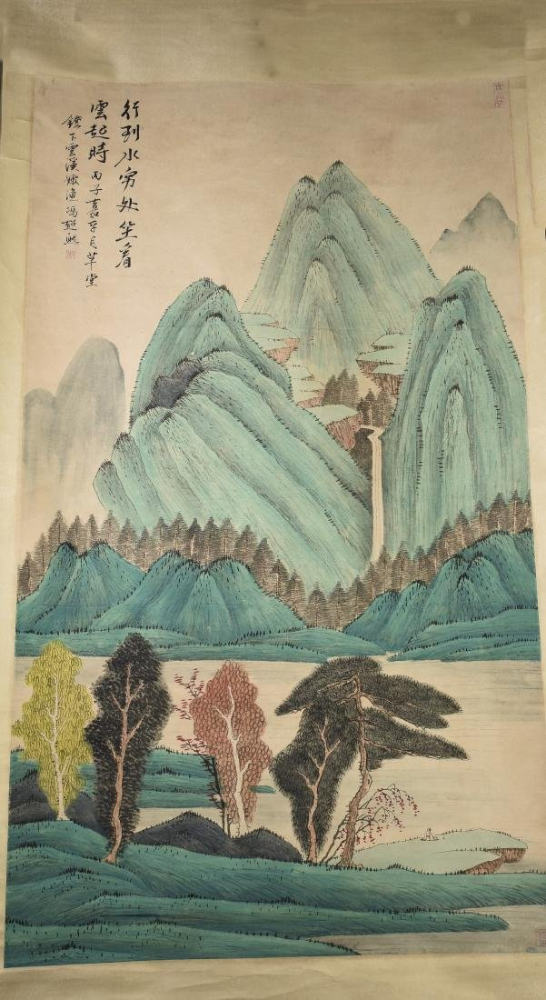 A SCROLL PAINTING OF LANDSCAPE