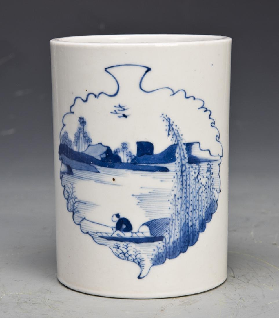 A White and Blue Porcelain Brush Wash