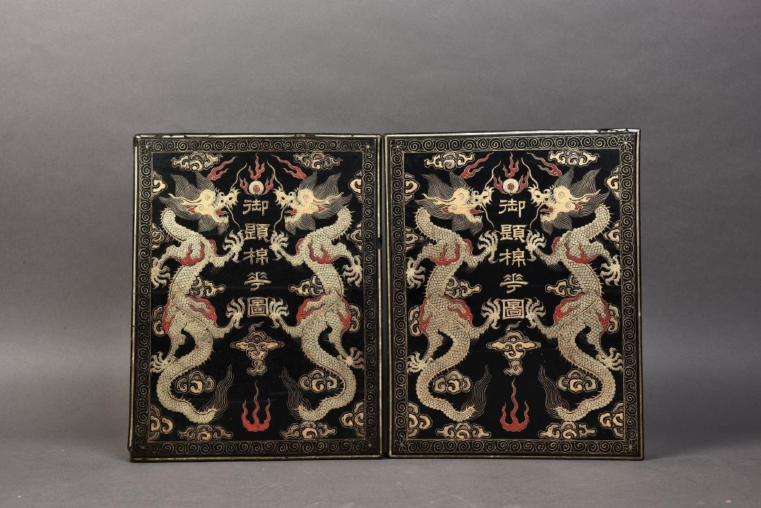 A PAIR OF BLACK DRAGON LACQUERED BOXES, 19TH CENTURY