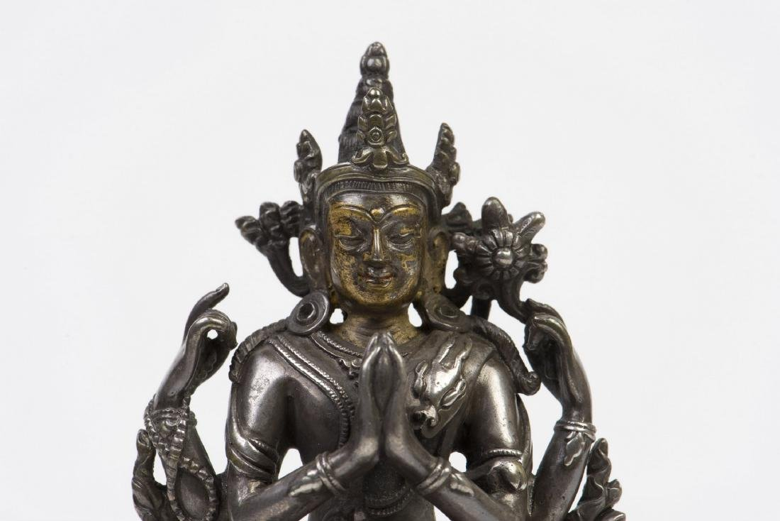 A SILVER AND GOLD-INLAID FIGURE OF FOUR ARMS - 2