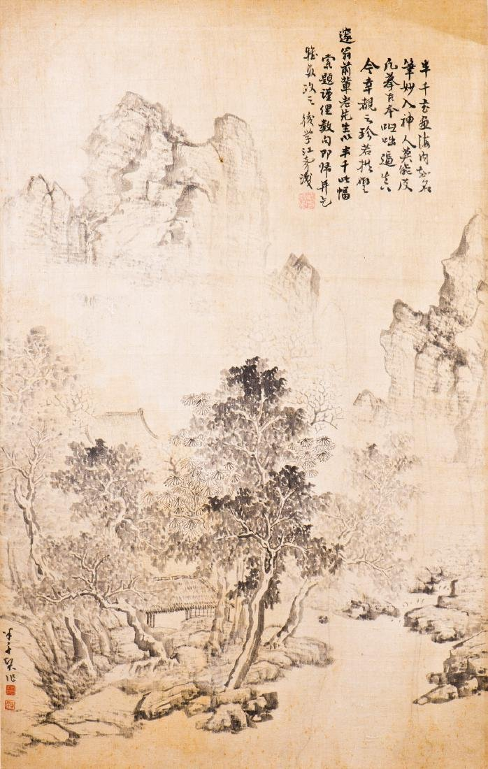 A FRAMED SILK PAINTING OF LANDSCAPE MOTIF, AFTER XI