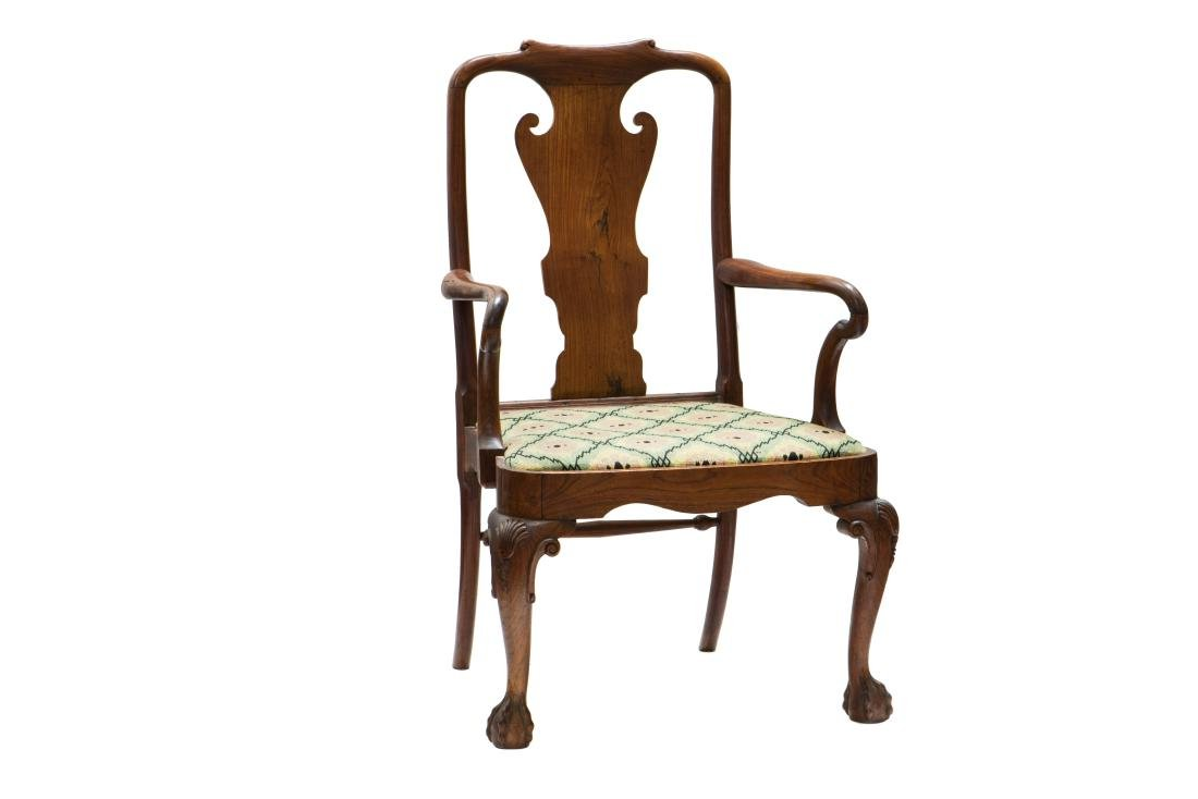 A PAIR OF CHIPPENDALE CARVED HARDWOOD ARMCHAIRS - 3