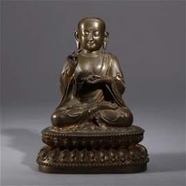 A fine sino tibetan bronze figure of luohan