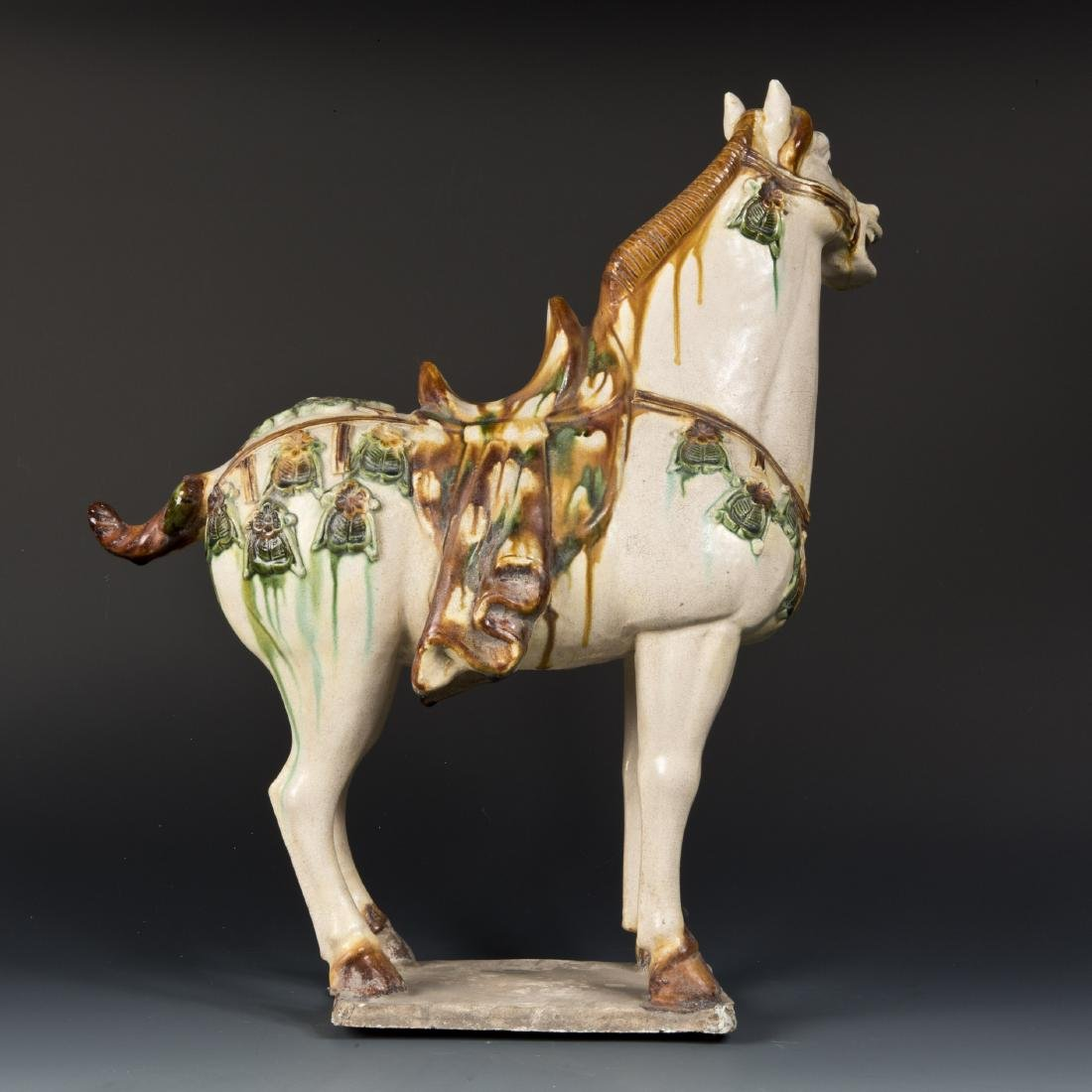 TRICOLOR-GLAZED POTTERY HORSE - 2