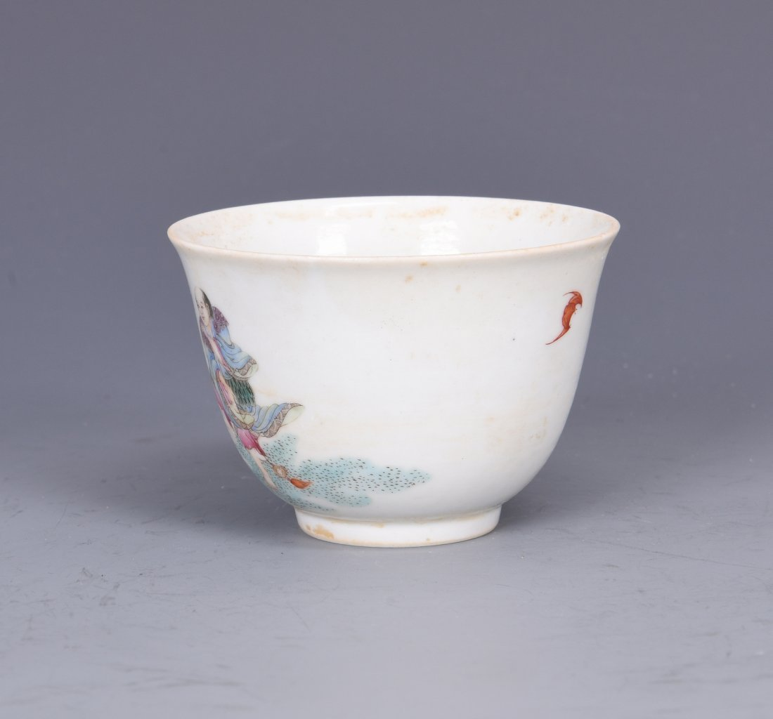 A FAMILLE ROSE PORCELAIN 'FIGURES'  CUP, QING DYNASTY - 2