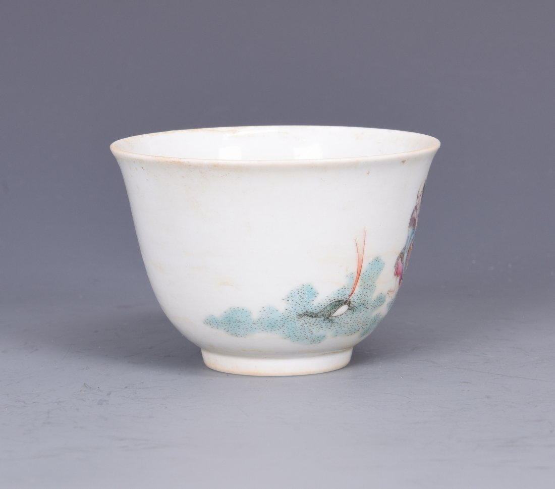 A FAMILLE ROSE PORCELAIN 'FIGURES'  CUP, QING DYNASTY - 5