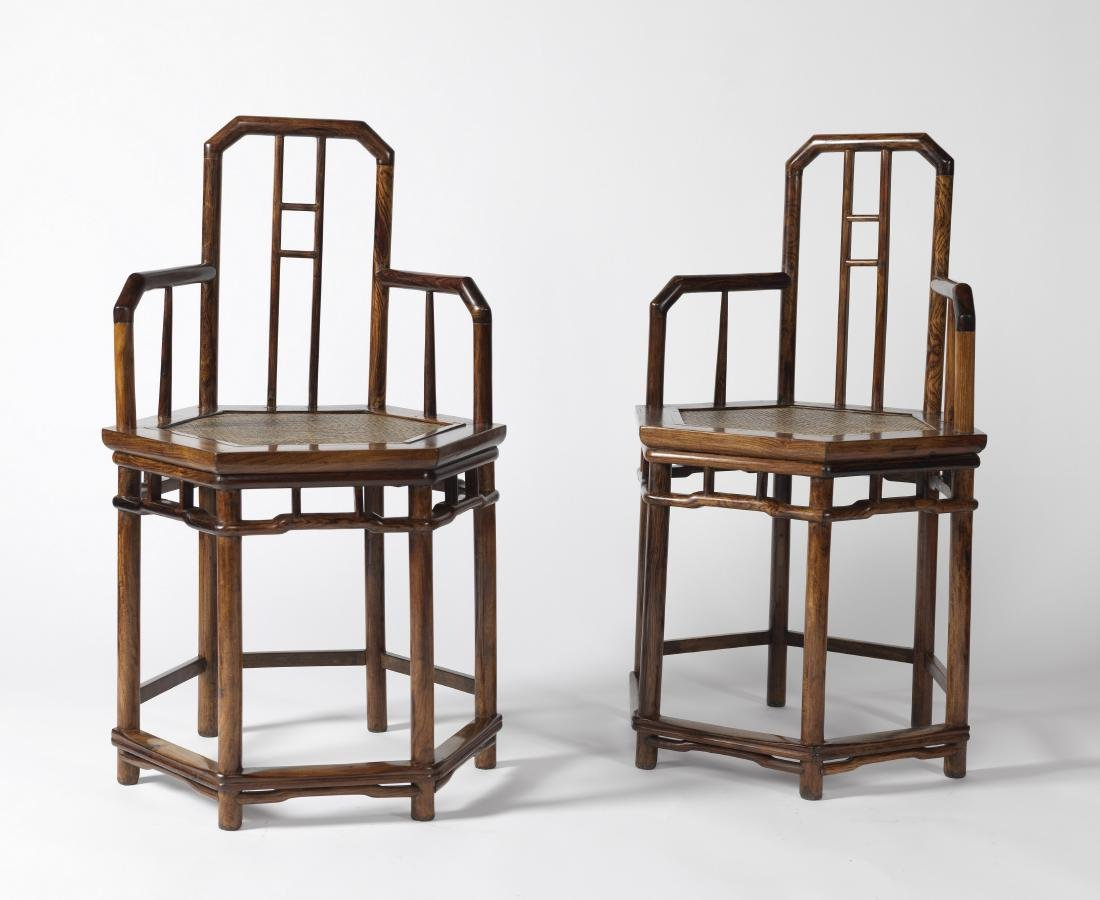 A PAIR OF CHINESE HUANGHUALI HEXAGONAL ROSE CHAIRS