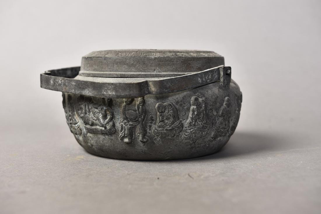 A BRONZE CENSER WITH COVER - 7