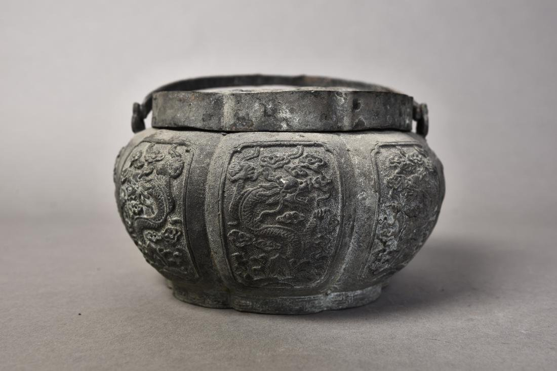 A BRONZE CENSER WITH COVER - 2