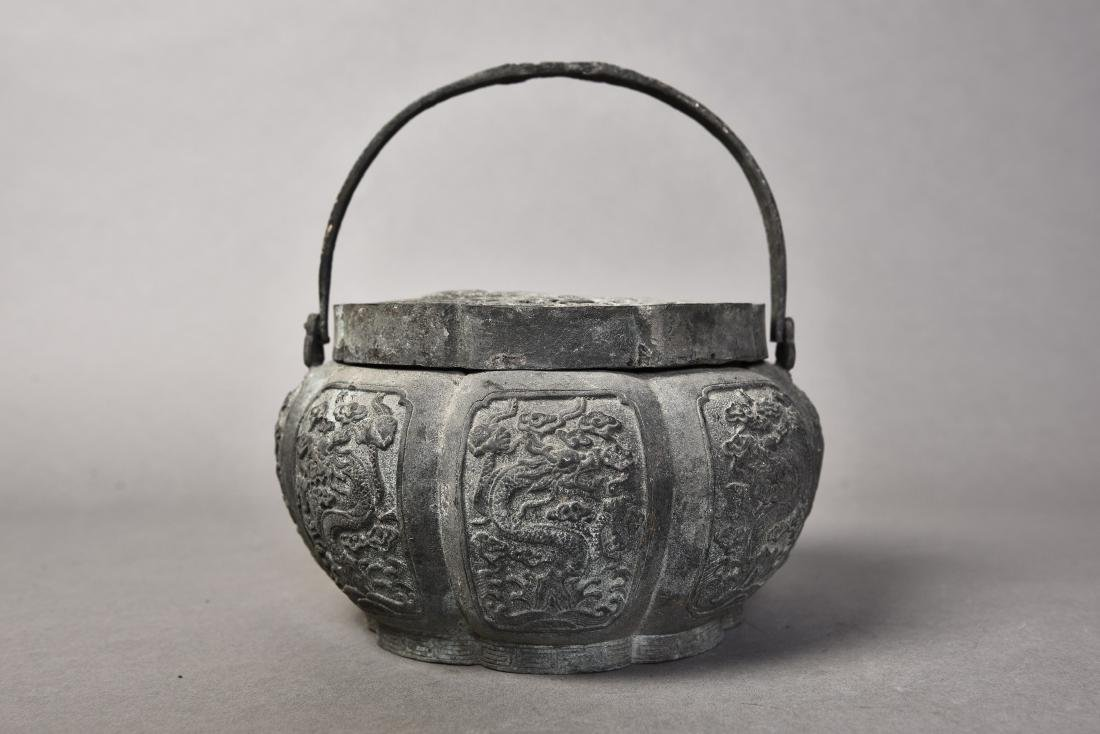 A BRONZE CENSER WITH COVER - 3