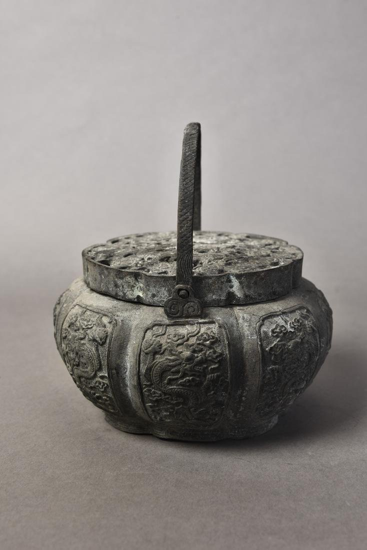 A BRONZE CENSER WITH COVER - 4
