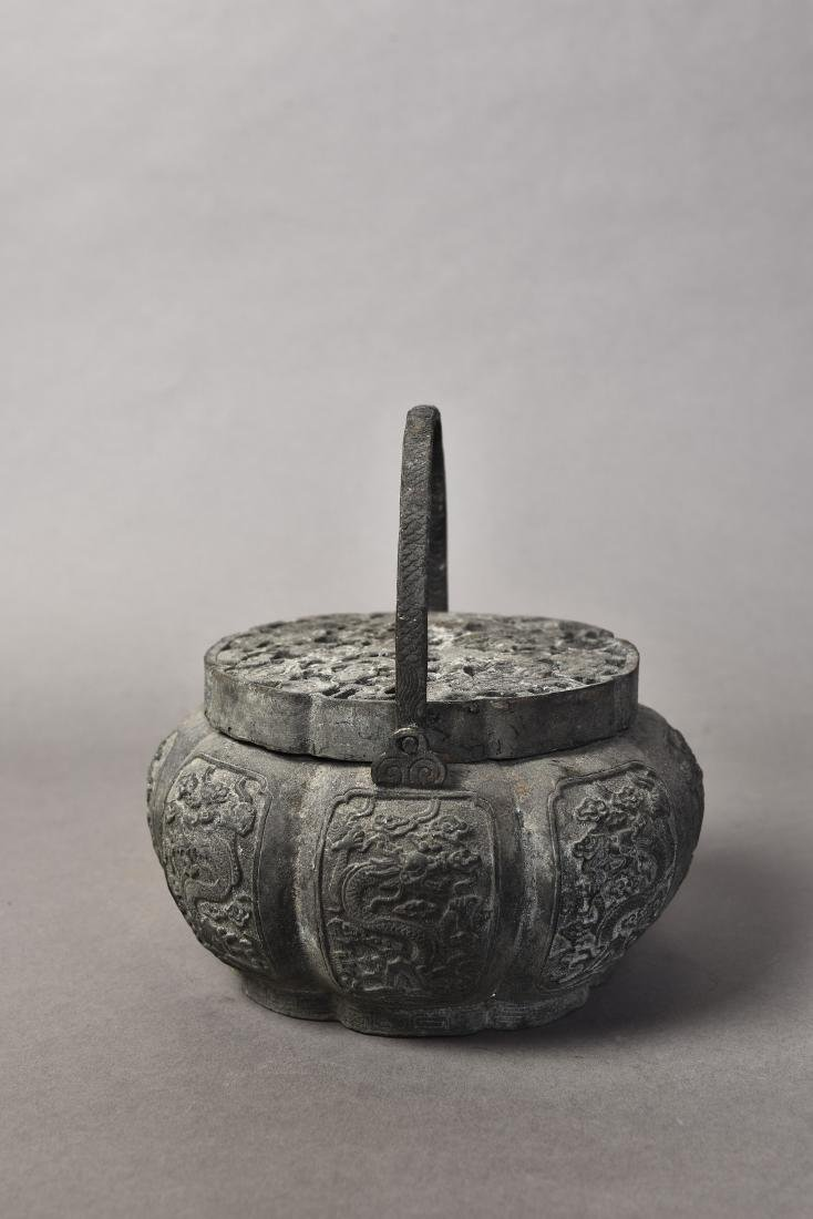 A BRONZE CENSER WITH COVER - 5