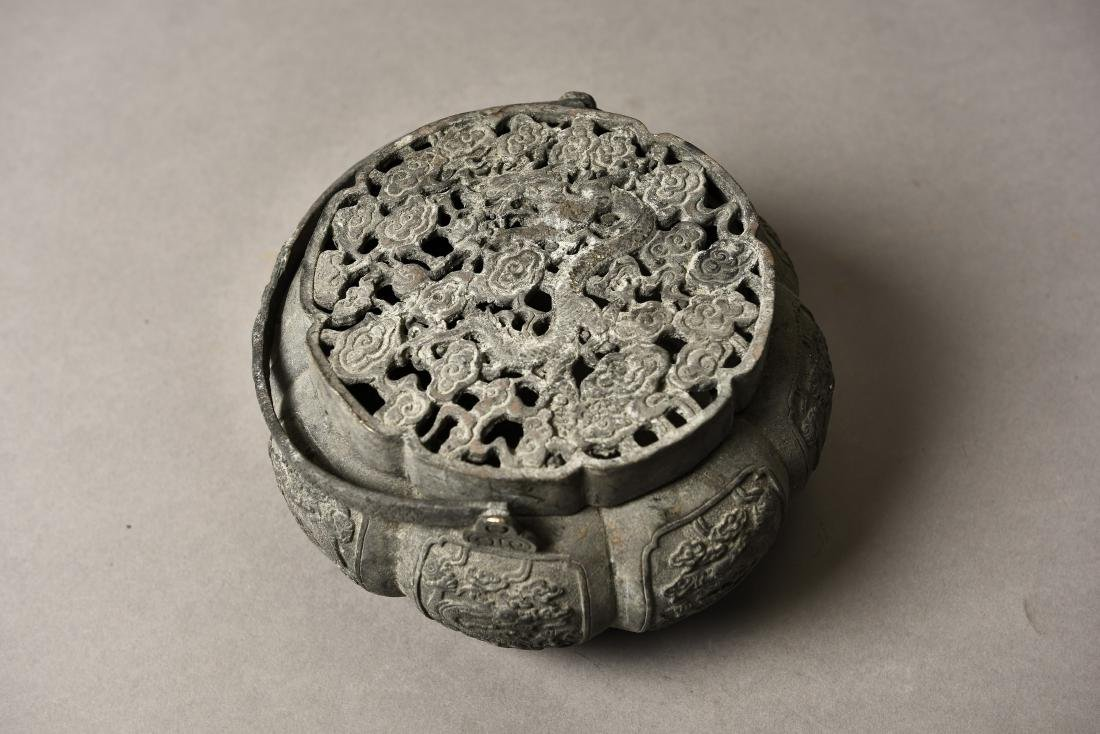 A BRONZE CENSER WITH COVER - 6