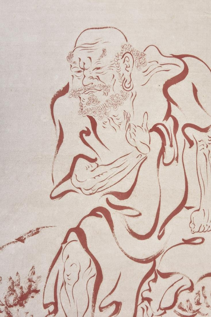 A CHINESE SCROLL PAINTING OF LUOHAN - 2