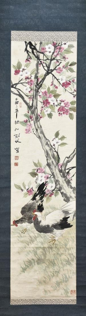 A CHINESE SCROLL PAINTING OF COCK