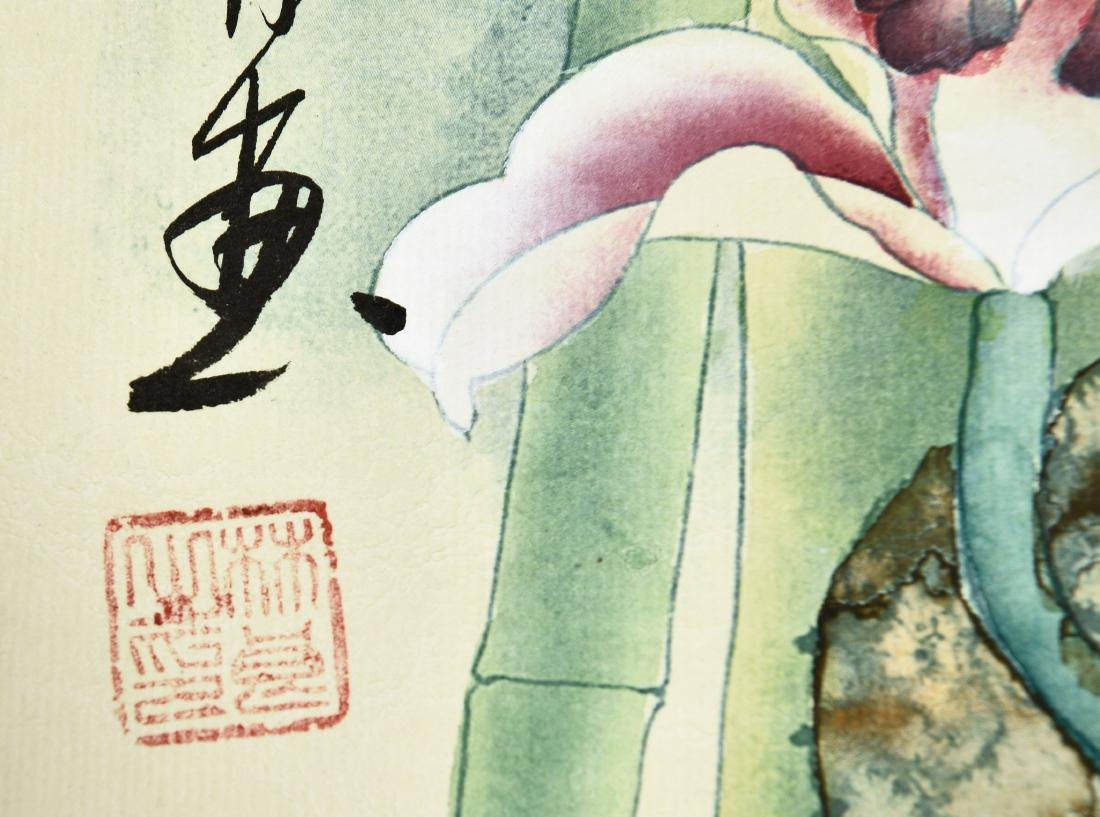 A CHINESE SCROLL PAINTING OF FLOWERS - 3