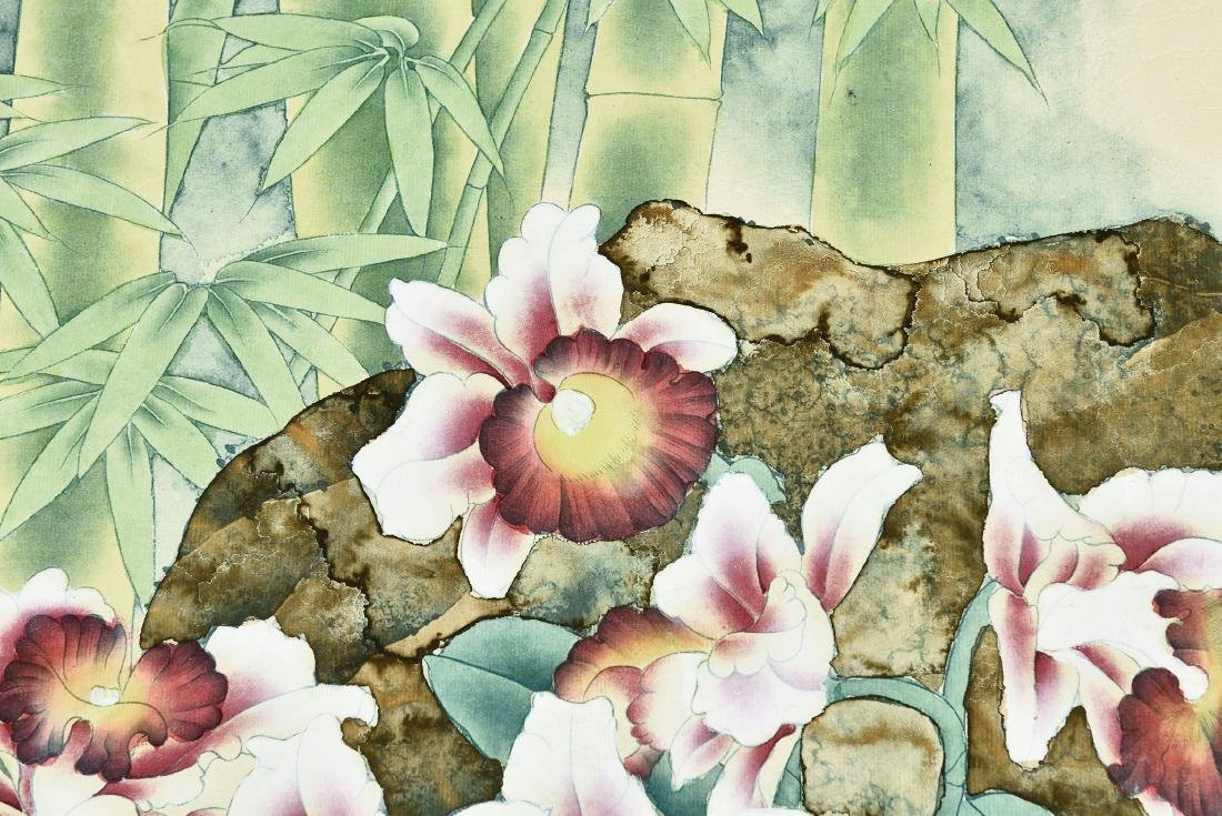 A CHINESE SCROLL PAINTING OF FLOWERS - 4