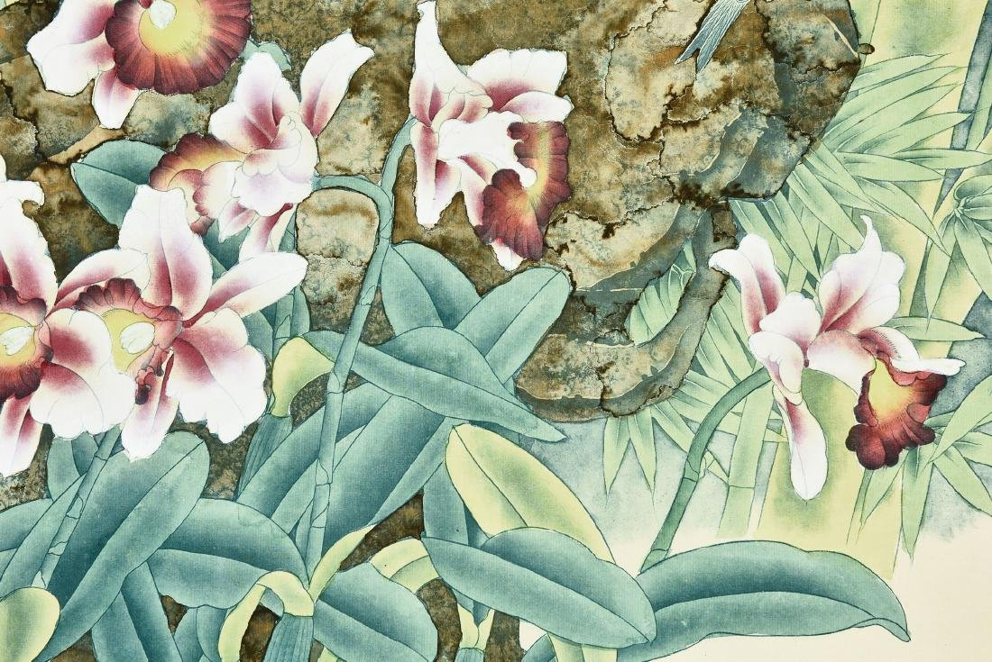 A CHINESE SCROLL PAINTING OF FLOWERS - 5