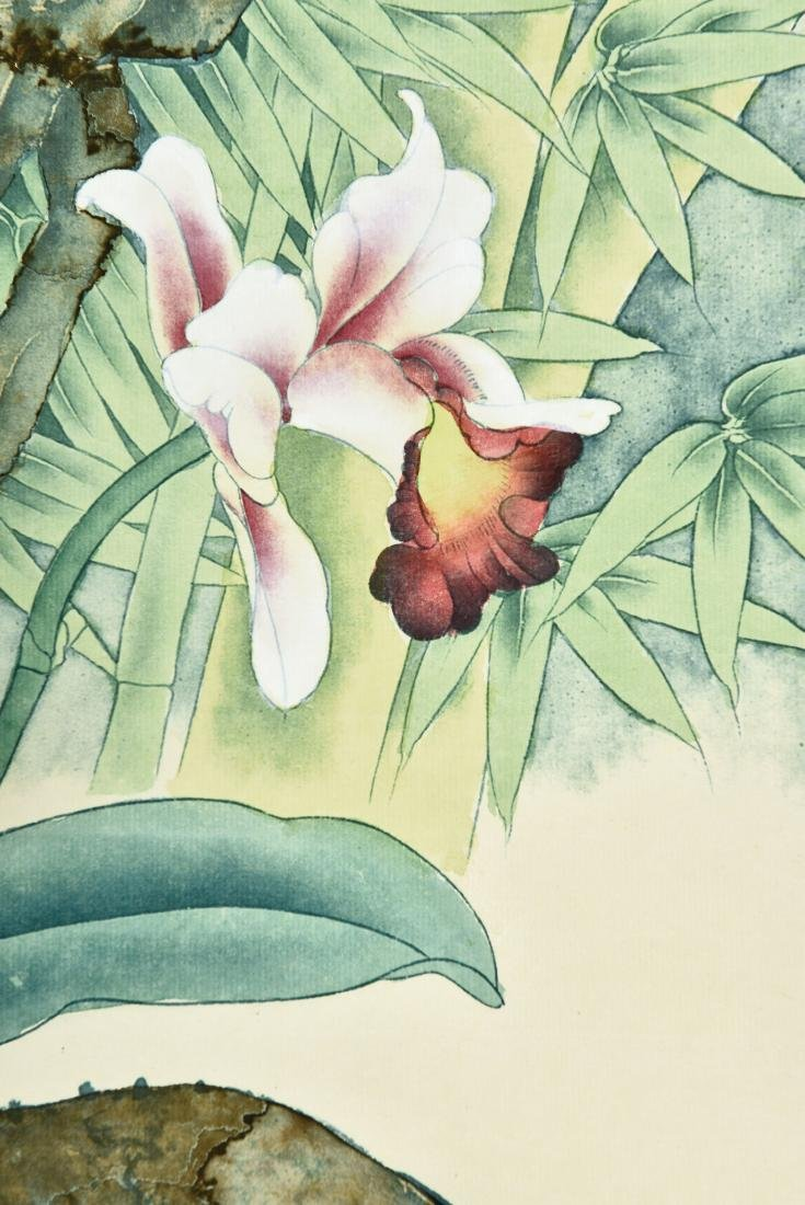 A CHINESE SCROLL PAINTING OF FLOWERS - 7