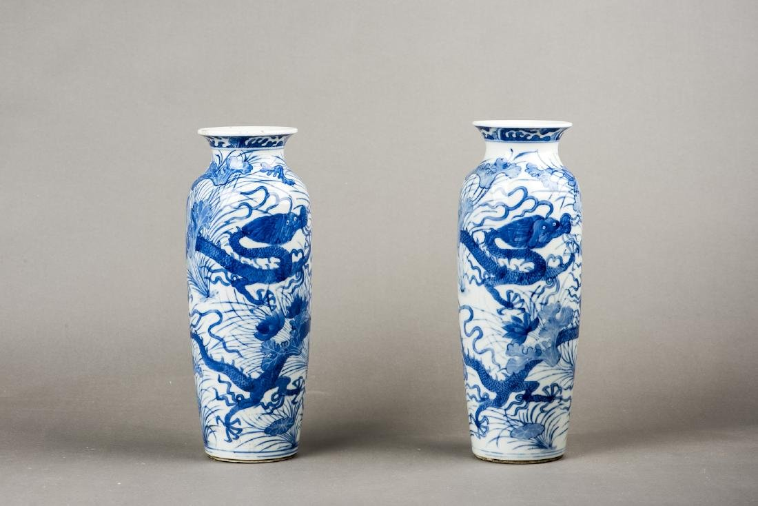 A PAIR OF BLUE AND WHITE 'DRAGON' VASES