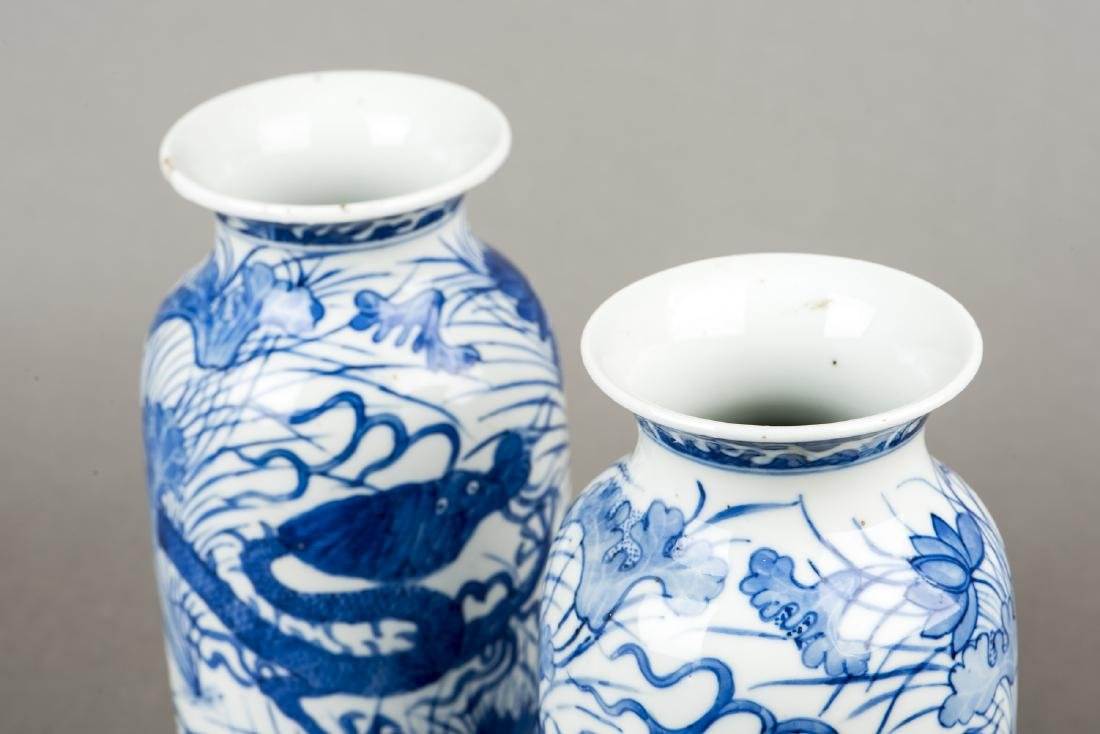 A PAIR OF BLUE AND WHITE 'DRAGON' VASES - 2