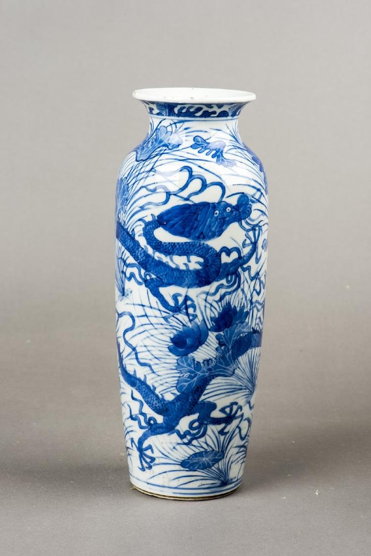 A PAIR OF BLUE AND WHITE 'DRAGON' VASES - 5