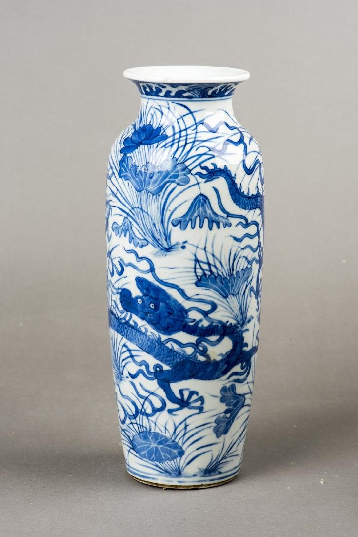 A PAIR OF BLUE AND WHITE 'DRAGON' VASES - 6
