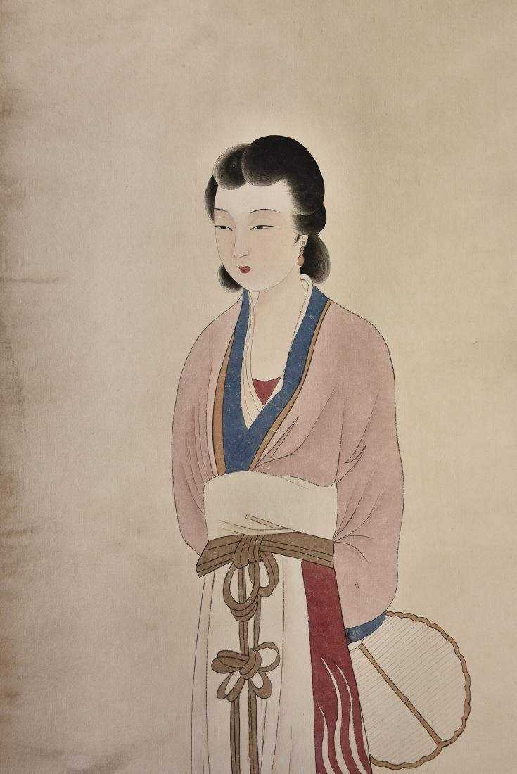A CHINESE SCROLL PAINTING OF BEAUTY - 4