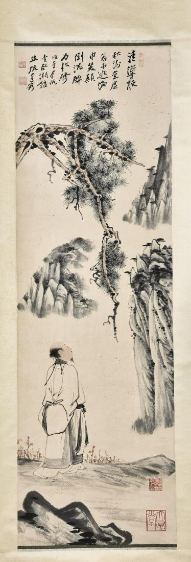 A CHINESE SCROLL PAINTING OF SCHOLAR