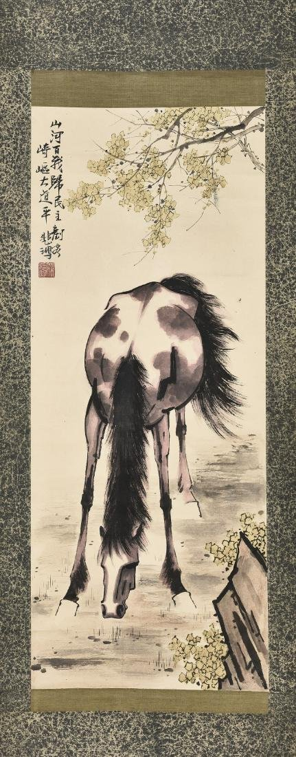A CHINESE SCROLL PAINTING OF HORSE