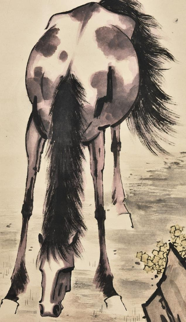 A CHINESE SCROLL PAINTING OF HORSE - 2